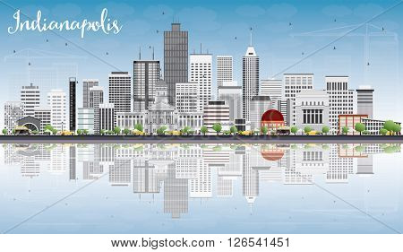 Indianapolis Skyline with Gray Buildings, Blue Sky and Reflections. Business Travel and Tourism Concept with Modern Buildings. Image for Presentation Banner Placard and Web Site.