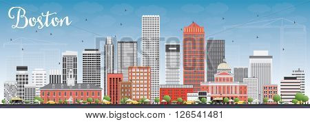 Boston Skyline with Gray and Red Buildings and Blue Sky. Business Travel and Tourism Concept with Modern Buildings. Image for Presentation Banner Placard and Web Site.