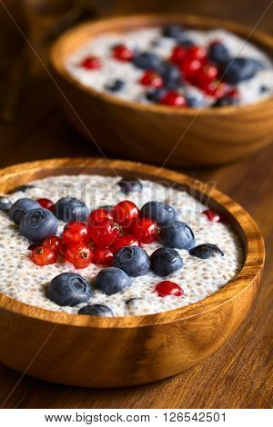 Chia (lat. Salvia hispanica) seed pudding with blueberries and redcurrants in wooden bowl photographed on dark wood with natural light (Selective Focus Focus one third into the pudding)