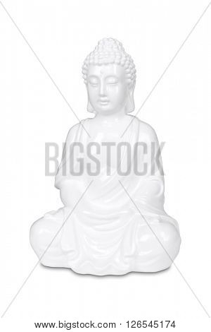 White Buddha statue isolated on white with clipping path.