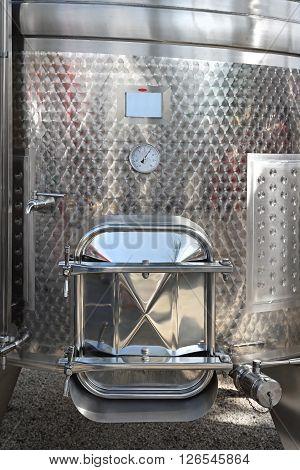 Door at Stainless Steel Vinificator Tank Cistern