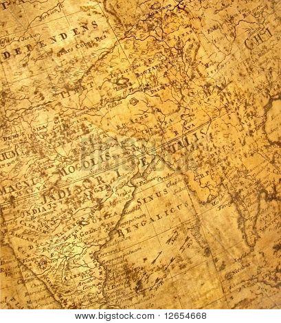 antike Karte (Indien in der Mitte)