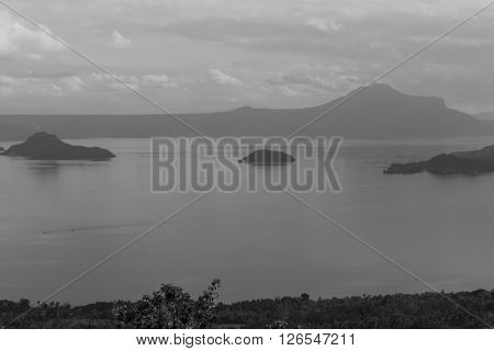 Taal Lake view from above (black and white tone)