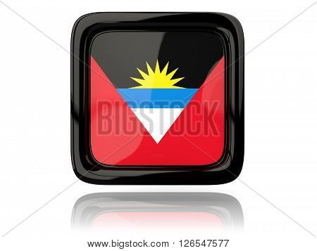 Square Icon With Flag Of Antigua And Barbuda