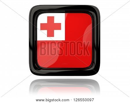 Square Icon With Flag Of Tonga