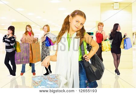 "group of girls in a shopping center  -  of  ""Shopping women"" multiple series in studioâ??s portfolio"