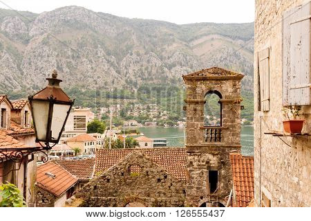 KOTOR, MONTENEGRO - AUGUST 30, 2009: Saint Francis bell tower at the old town of Kotor in Montenegro