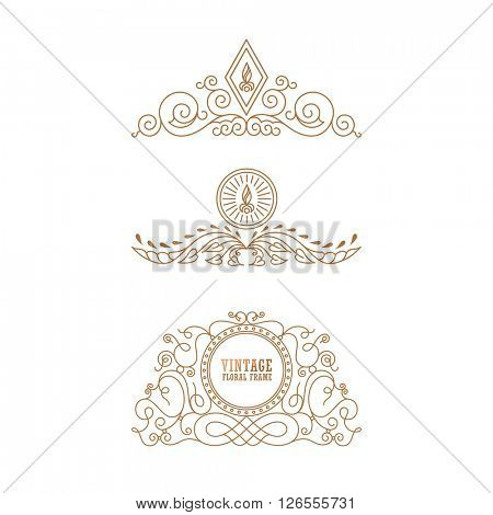 Calligraphic Luxury line logo template. Flourishes calligraphic elegant emblem. Royal logo design. Gold logo decor for menu card invitation label, Restaurant, Cafe, Hotel. Vintage vector line symbol
