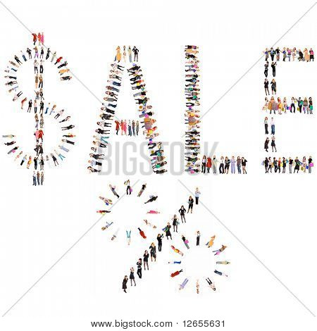 """Sale and duscount"" composition made of hundred of people"
