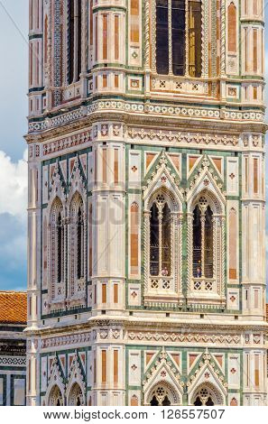 Fragment of Facade of the Basilica di Santa Maria del Fiore (Basilica of Saint Mary of the Flower), the main church of Florence, Italy
