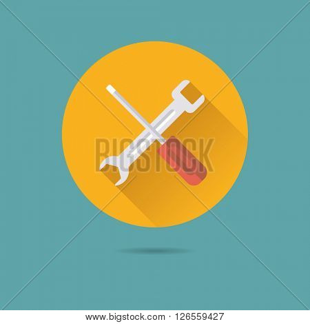 screwdriver and wrench tools flat design long shadow vector icon