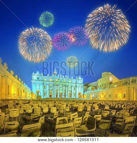 Saint Peter's Square, Piazza San Pietro and Saint Peter's Basilica at night with fireworks in the Vatican City, Rome, Italy