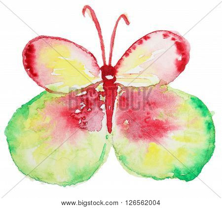Abstract Watercolor hand drawn colorful butterfly. Hand painted watercolor butterfly in Hires.
