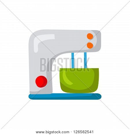 Vector illustration with cartoon stand mixer or blender. Kitchen appliances background. Cute kitchen logo with mixer. Home appliance cartoon. Isolated mixer on white. Household apartment appliances