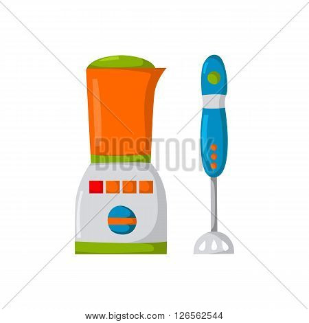 Vector illustration with cartoon mixer and blender. Kitchen appliances background. Cute kitchen logo with mixer. Home appliance cartoon. Isolated mixer on white. Household apartment appliances