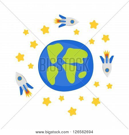 Vector cartoon illustration with earth and rockets. Flight to Mars and Moon concept. Great for children book/encyclopedia cover illustration. Cartoon rocket on earth orbit. Universe travel adventure