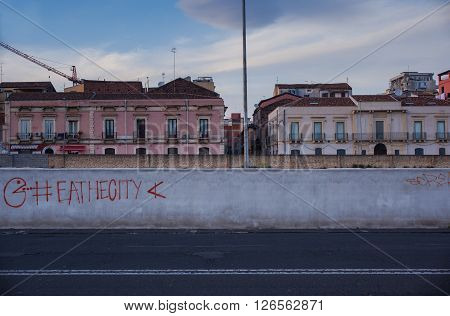 View of empty road in Catania Italy