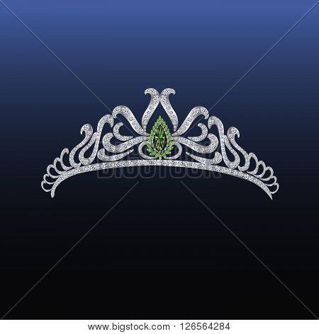 Diamond tiara with emerald - vector illustration