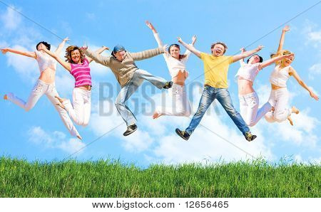 colorful jumping young people