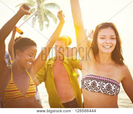 Group of People Partying on a Tropical Beach