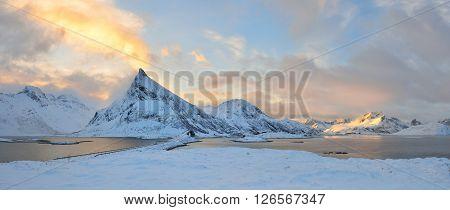 Torsfjorden inlet & Volandstinden mountain sunrise Lofoten Norway