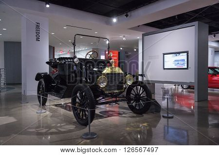 Los Angeles, CA, USA -- April 16, 2016: 1915 Ford Model T Runabout was a gift to the Petersen Automotive Museum in Los Angeles, California, from Sharen and Rich Cholakian.