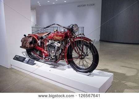 Los Angeles, CA, USA -- April 16, 2016: 1927 Indian Big Chief Motorcycle formerly owned by Steve McQueen, now part of the Margie and Robert E. Petersen Collection.
