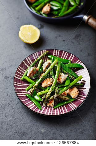 Sesame Seed Chicken with Green Asparagus and Sweet Peas