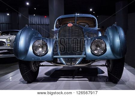 Los Angeles, CA, USA -- April 16, 2016: This 1936 Bugatti Type 57SC Atlantic is part of the collection of Atlantic LLC, Rob and Melani Alton, Peter and Merle Mullin, Mullin Automotive Museum and Peter Mullin Automotive Museum Foundation being displayed at