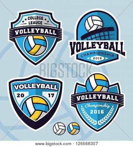 Set of volleyball logo template design for apparel clothing and other design. Vector illustration