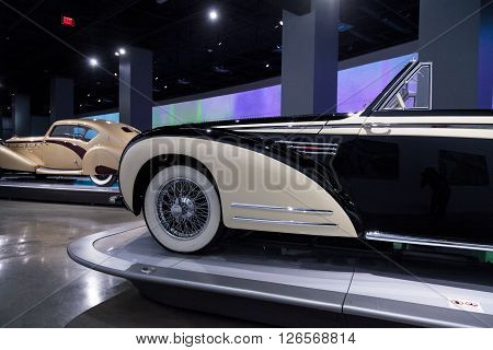 Los Angeles, CA, USA -- April 16, 2016: This 1939 Bugatti Type 57C Aravis by Gangloff is part of the collection of the Mullin Automotive Museum on display at the Petersen Automotive Museum in Los Angeles, California, United States.