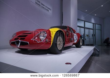 Los Angeles, CA, USA -- April 16, 2016: One of only 12 built and raced by Aldo Bardelli, this 1967 Alfa Romeo Guilia TZ2 is part of the collection of David Sydorick at the Petersen Automotive Museum in Los Angeles, California, United States.