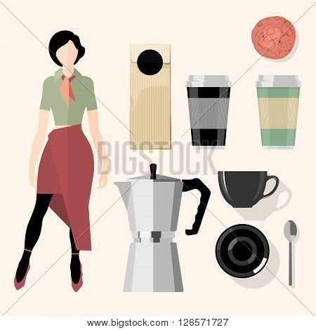 Coffee. Kitchen, bar, restaurant design elements. Vector Set