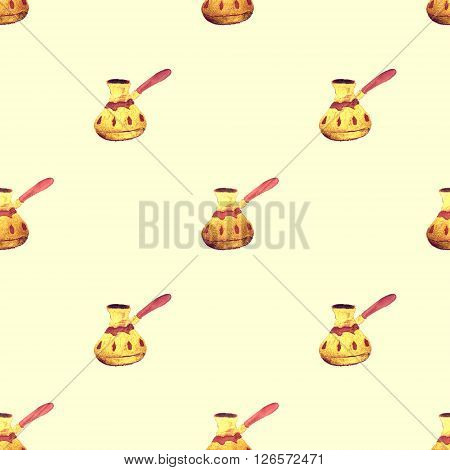Hand drawn pearl gold Turkish coffee pots