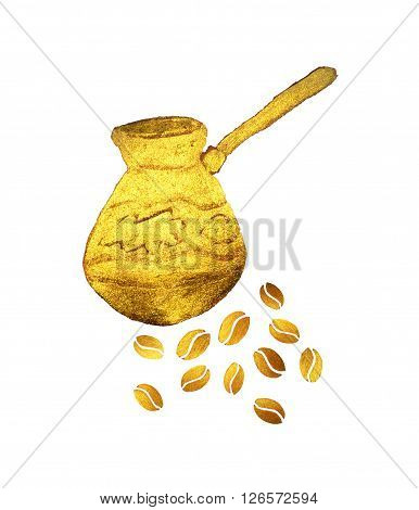 Pearl gold Turkish coffee pot and coffee beans on white background