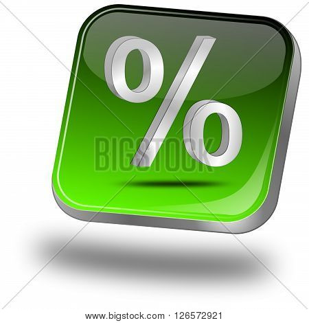 green Discount button with percent Symbol 3D Illustration