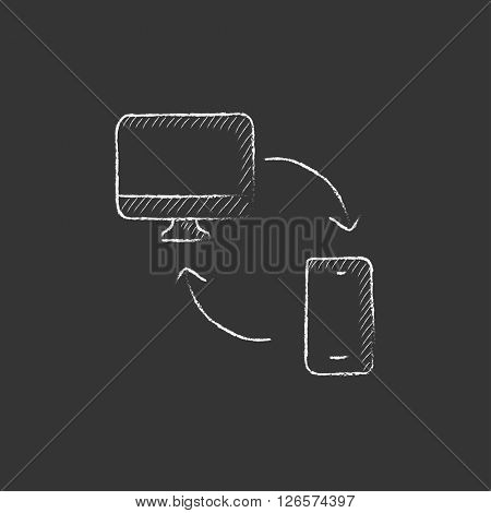 Synchronization computer with mobile device. Drawn in chalk icon.
