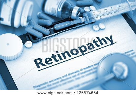 Retinopathy, Medical Concept with Selective Focus. Retinopathy Diagnosis, Medical Concept. Composition of Medicaments. Retinopathy, Medical Concept with Pills, Injections and Syringe. 3D Render.
