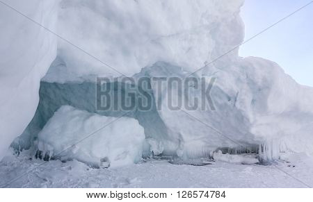 Snow caves of ice. Beautiful winter landscape in the Lake Baikal.