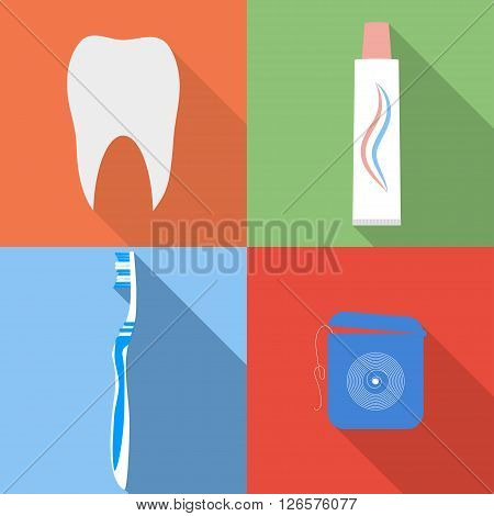 Dental flat vector icons. Tooth toothbrush toothpaste and dental floss icons set in flat style. Vector set of dental icons with long shadow.