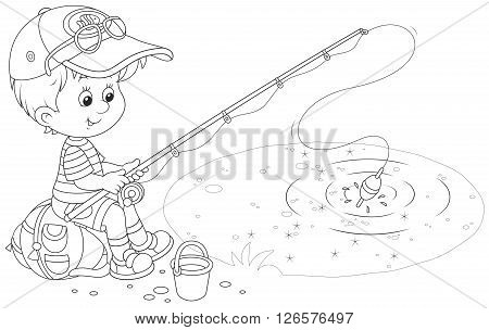 Black and white vector illustration of a little boy sitting on his backpack and fishing in a small pond