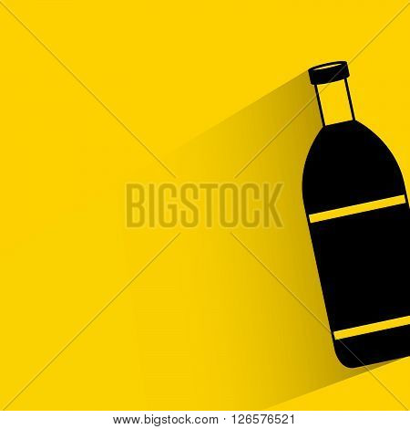 silhouette bottle with drop shadow on yellow background