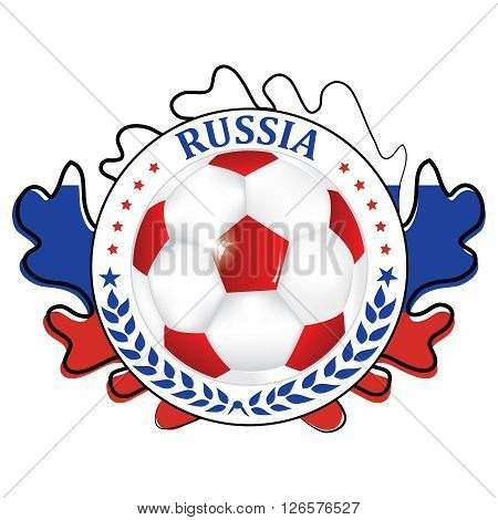 Russia 2016 football team sign, containing a soccer ball and the Russian flag. Print colors used