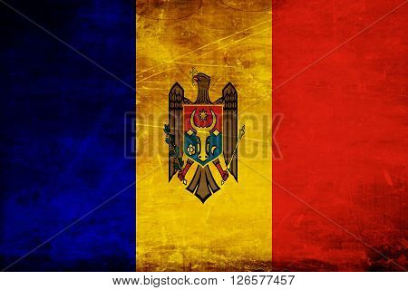 Moldova flag with some soft highlights and folds