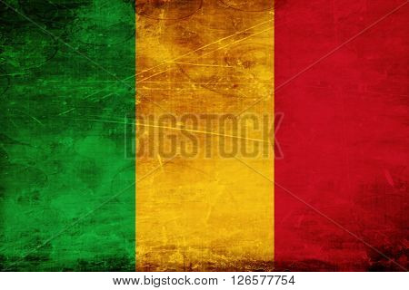 Mali flag with some soft highlights and folds