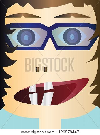 Creepy kid head cartoon character with glasses and an open mouth with teeth. Digital background vector illustration.