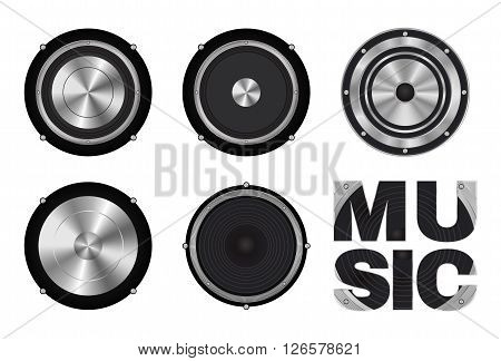 vector set of speaker icon on a white background
