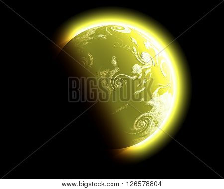 yellow Fantasy planet with sphere and reflection