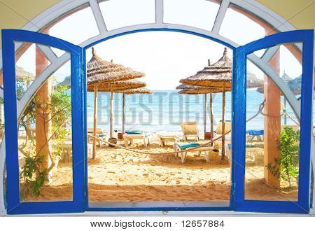 a room with a view on a beach