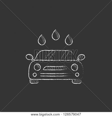 Car wash. Drawn in chalk icon.